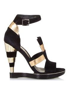Lexus suede and leather wedge sandals    Salvatore Ferragamo   MATCHESFASHION.COM US