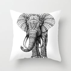 Buy Ornate Elephant by BioWorkZ as a high quality Throw Pillow. Worldwide shipping available at Society6.com. Just one of millions of products available.