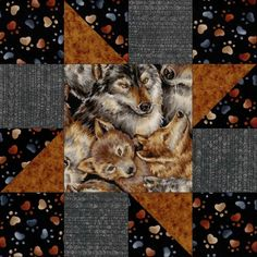 This easy to sew kit includes enough pre-cut fabric pieces for 12 blocks. Quilt kit features a collage of wolf faces in shades of gray, brown and black on a black background. The wolves are from young