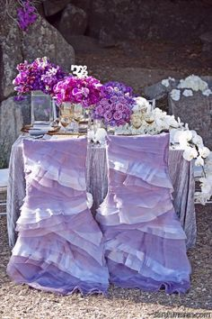 Ruffled Chair Covers  I want to do this for a party!!