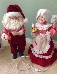 vtg telco motionettes christmas both santa mrs claus animated illuminated 24