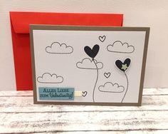 Valentinstagskarten - Valentinskarte  HERZBALLONS & Wolken - ein Designerstück von POMMPLA bei DaWanda