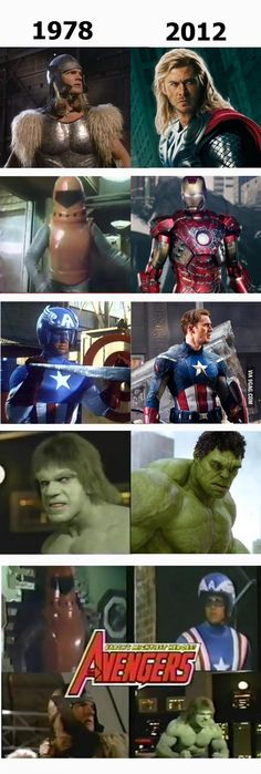 Avengers then and now. Okay, the 'now' Avengers are better, I think everyone will agree. I mean just what was that Iron Man. Films Marvel, Memes Marvel, Dc Memes, Marvel Funny, Marvel Dc Comics, Iron Men, The Avengers, Avengers Humor, Avengers Names