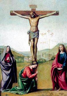 Pintura religiosa de altar por el italiano Albertinelli. (1515)
