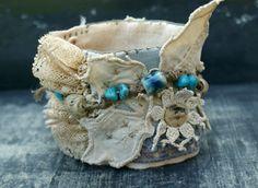 Fabric Wrist Cuff Bracelet, Vintage Lace, Vintage Crochet, Wearable Art, Bohemian Hippie, Assemblage Bracelet, Fabric Jewelry. on Etsy, £34.17
