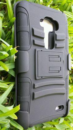 For Lg G flex,Hybrid Black case with belt clip holster unbranded rigid plastic   #UNBRANDED