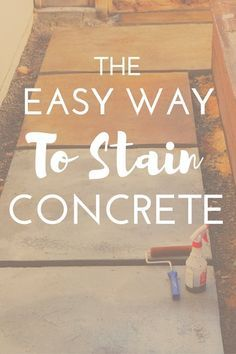 Looking for a beautiful budget-friendly and easy way to stain concrete?These concrete glazes couldn't be easier and give tons of variety and texture.Click through to see how easy it is! Stained Concrete Porch, Diy Concrete Stain, Concrete Driveways, Concrete Pavers, Concrete Projects, Stamped Concrete, Concrete Design, Walkways, Painting Concrete Patios