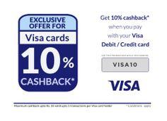 10% Cash Back Wtih Payment of Visa Debit/Credit Cards