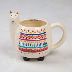 Natural Life Llive Happy Llama Mug at The Paper Store Animal lovers can sip their favorite brew out of this 16 ounce, ceramic mug from Natural Life featuring sculpted, llama details and a colorful, tribal-inspired pattern. Disney Coffee Mugs, Cute Coffee Mugs, Cool Mugs, Coffee Cups, Coffee Shop, Paper Store, Cute Cups, Maker, Natural Life