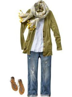 Linen-Blend Boyfriend Cardigan & Cuffed Jeans #summer clothes style #tlc waterfalls
