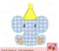 Baby elephant with Birthday hat,Birthday Elephant applique,Animal embroidery design -4x4 5x5 6x6 inch-Machine Embroidery Applique Design by CherryStitchDesign on Etsy