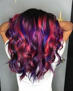 Red hair hair color purple, hair dye colors, blue and red h Purple Hair Highlights, Hair Color Purple, Hair Dye Colors, Cool Hair Color, Purple Wig, Blue And Red Hair, Red Ombre, Gorgeous Hair, Gorgeous Blonde
