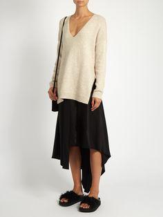 Sydney asymmetric-hem silk-satin skirt | Elizabeth And James