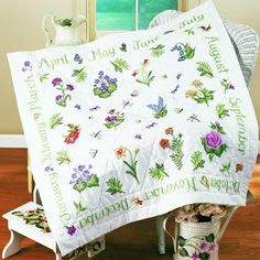 Donna Dewberry Year Of Flowers Lap Quilt Cross Stitch Kit
