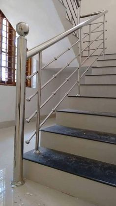 Steel Grill Design, Steel Railing Design, Staircase Railing Design, Balcony Railing Design, Window Grill Design, Home Stairs Design, Stainless Steel Stair Railing, Stainless Steel Handrail, House Main Gates Design