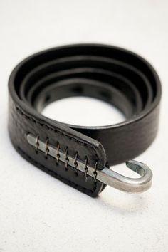 Johnny Farah Black & Silver Multihole Hook Belt $180