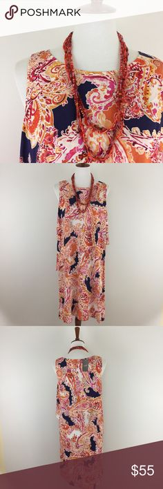 "NWT J.Jill Paisley Tank Dress So soft and comfy - 100% rayon - paisley print - tiered tank shift dress - scoop neck - approx measurements lying flat: approx measurements lying flat: armpit to armpit 21"", hips 23"", length 39"" - NWT J. Jill Dresses"