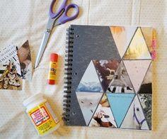 Pie N' the Sky: triangle love DIY notebook cover Diy Notebook Cover, Notebook Design, Notebook Collage, Plain Notebook, Notebook Binder, Vintage Notebook, Writing Notebook, Handmade Notebook, Journal Design