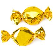 Gold Metallic Foiled Hard Candy: 5LB Bag  Classic hard candy wrapped in brilliant golden metallic foil for an eye popping display and even yummier orange flavoring!    There are approximately 65 pieces per pound.