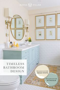 Timeless bathroom design with white subway tile, hex tile floor and Benjamin Moore Indian White - a complex cream; Benjamin Moore Wythe Blue - a lovely turquoise blue. Cream Bathroom, White Bathroom Tiles, Bathroom Paint Colors, Gold Bathroom, White Tiles, Master Bathroom, Bathroom Ideas, Colorful Bathroom, Bathroom Inspo