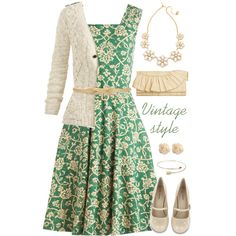 """""""Vintage style with Light green and Ivory :)"""" by jamie-burditt on Polyvore"""