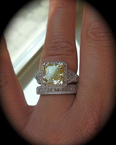 ring engagement wedding But I want mine to be a very light colored aqua marine stone. Diamond Jewelry, Jewelry Rings, Fine Jewelry, Hair Jewelry, Diamond Rings, Canary Diamond, Colored Diamonds, Yellow Diamonds, Love Ring