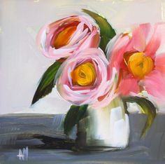 Camellia Flowers Art Print by Angela Moulton 6 x 6 inch