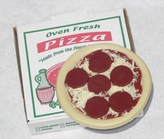 So it may not smell like pizza, but it looks like pizza! This adorable pepperoni pizza soap even gets delivered in its own little pizza box. It is also available by the slice. No joke.