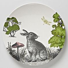 melamine plate - woodland rabbit - hardtofind. $16.95
