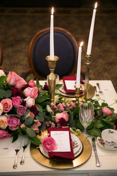 Stunning red and pink table setting with gold and navy accents! | Berry Wedding Inspiration at The Ashton Hotel, TX via @myhotelwedding