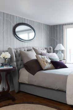 Find cozy bedroom decorating ideas, like bedding ideas, wall decor, bed frames, and bedroom furniture. These cozy bedroom ideas will make you want to stay in bed all day. Grey Bedroom Design, Serene Bedroom, Gray Bedroom, Beautiful Bedrooms, Home Bedroom, Bedroom Furniture, Bedroom Decor, Bedroom Ideas, Bedroom Neutral