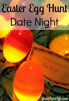 Easter Date Night. Who says that Easter Egg hunts are just for kids? This is a perfect date night for your and your spouse. Build a happy marriage by connecting with and dating your spouse. gracelovelife.com