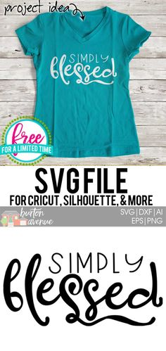 Free SVG Cut File Simply Blessed - Cricut T Shirts - Ideas of Cricut T Shirts - So many possibilities of DIY projects with this Free Simply Blessed SVG File. Make signs pillows t-shirts and more for w Silhouette Cameo Projects, Silhouette Design, Silhouette Files, Stencils, Stencil Art, Cricut Fonts, Cricut Vinyl, Cricut Tutorials, Cricut Ideas