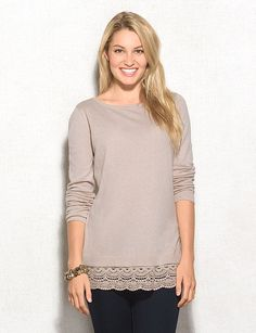Roz & ALI Crochet Hem Split-Back Sweater | dressbarn