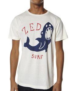 SURFSTITCH - MENS - TEES - ZED SHARK TEE - IVORY
