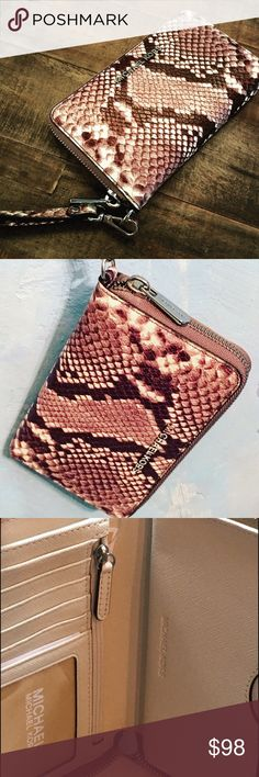 Gorgoues Michael Kors Peyton Embossed wristlet This is a beautiful Michael Kors phone wristlet wallet with python embossed leather in cream and coffee. It's the perfect size to carry in your bag or as a wristlet. 6 cc slots. 1 ID card slot. Note/ section and zip pocket for change. Detachable leather strap ad an outside zip. 9x4x3 inches. Michael Kors Bags Clutches & Wristlets
