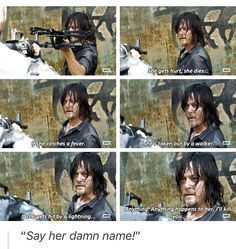"""Daryl pretty much letting Richard know that if Carol gets a paper cut, he is dead. The Walking Dead S07 E10 """"New Best Friends"""". Season 7 Episode 10. #caryl"""
