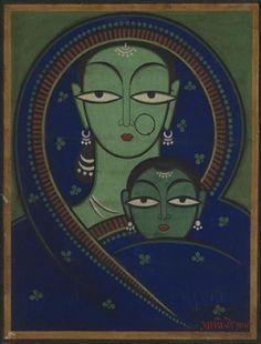Mother & child- Jimini Roy painting