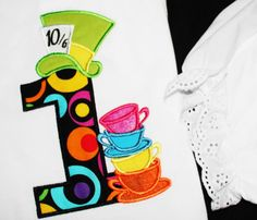 Mad Hatter Tea Party, Hat and 4 types of stack of topsy turvey tea cups INSTANT DOWNLOAD - machine embroidery applique designs - 4x4 and 5x7 on Etsy, $3.99