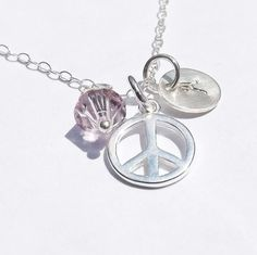 Personalized Peace Pendant - Sterling Silver Peace Necklace - Birthday, Wedding, Graduation, Bridesmaid, Mother, Friends by jewelrycraftstudio - Found on HeartThis.com @HeartThis | See item http://www.heartthis.com/product/220251124131523610/