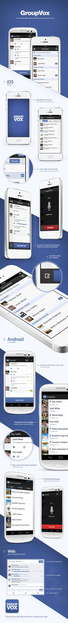 Free walkie‐talkie app for Facebook groups and events by Pixel Junglist via Behance