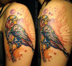 colorful bird by russian tattoo master Yanina Viland