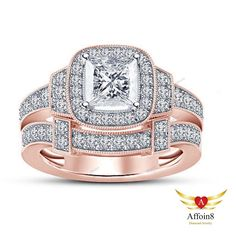 2 CT Princess Cut Diamond In 925 Silver Bridal Engagement Ring Set Size 5-12 #Affoin8