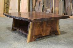 Natural edge walnut coffee table