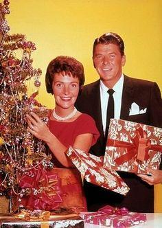 Ronald Reagan with wife Nancy, c.1955