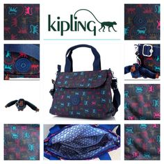 Kipling Enora Handbag with Removable Shoulder Strap - monkey mania dark  blue with Jane monkey 7292ec8ff2