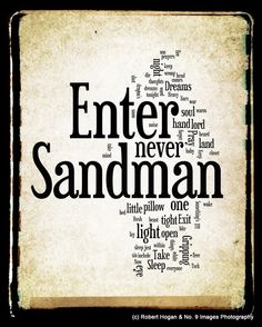 Enter Sandman Lyrics - Metallica Word Art - Word Cloud Art Print 8x10 - Gift Idea. $15.00, via Etsy.