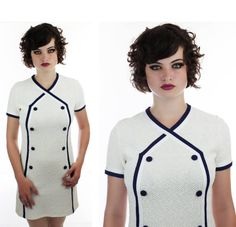 60s Sailor Dress Mod Nautical Vintage Knit by neonthreadsdesigns, $38.00