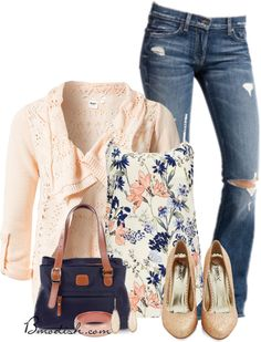 20 Cute Outfit Combinations With Floral Top - Be Modish Tank Top Outfits, Casual Outfits, Cute Outfits, Fashion Outfits, Womens Fashion, Fashion Trends, Look Blazer, Mode Jeans, Outfit Combinations