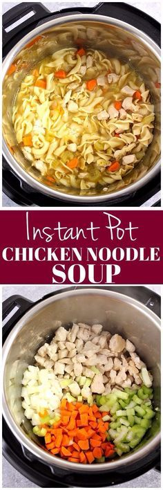 Instant Pot Chicken Noodle Soup Recipe - fastest and easiest way to make a big pot of chicken noodle soup! Perfect for the cold and flu season! chicken recipes dinners,cooking and recipes Crockpot Recipes, Soup Recipes, Chicken Recipes, Healthy Recipes, Recipies, Easy Recipes, Hamburger Recipes, Healthy Chicken, Healthy Food